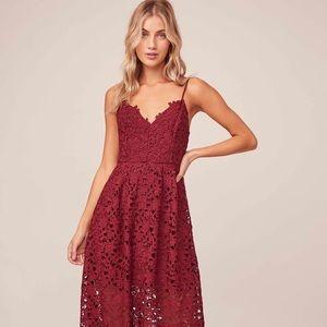 ASTR The Label Lace A-Line MIdi Dress in M